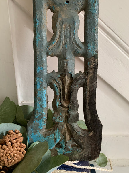 Hand-Carved Decorative Wood Panel with Turquoise Paint