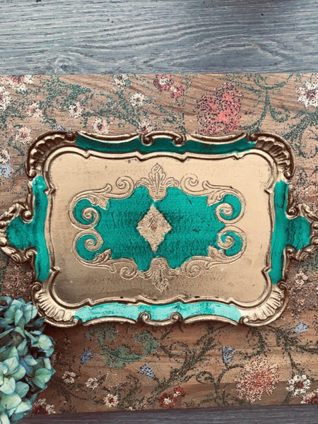 Emerald Green Florentine Vintage Gilt Tray