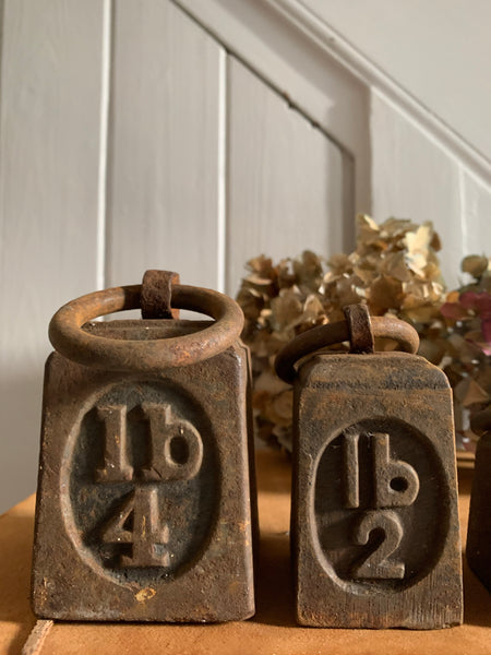 Set of Four Antique Iron Tether Weights