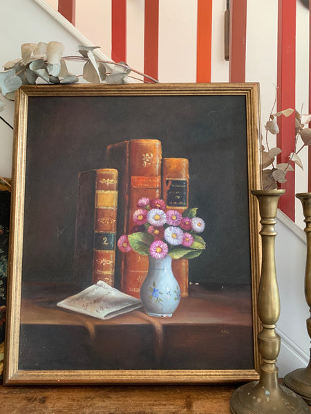 Still-Life with Leather Books: Large Framed Oil Painting