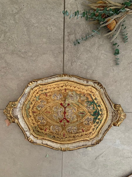 Florentine Wood Gilt Tray - White, Gold & hints of red, green