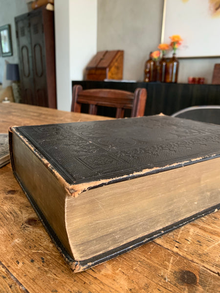 Large Antique Embossed Leather Bible