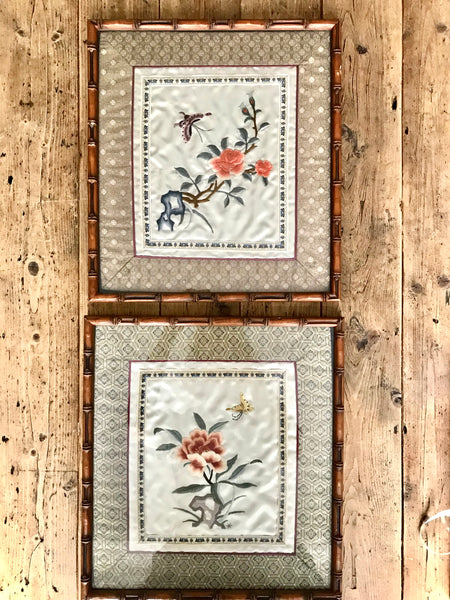 Pair of Framed Antique Chinese Silk Embroidery Art