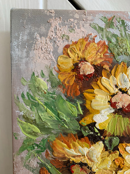 Teeny Thick Impasto Floral Oil on Canvas