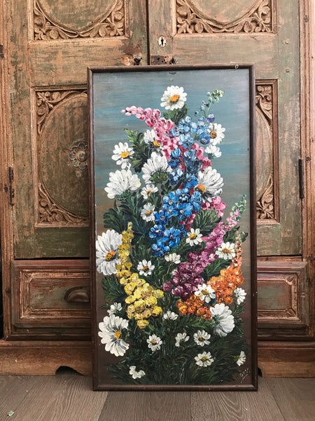 Framed Vintage Floral Oil Painting