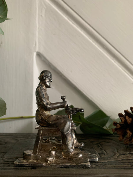 Little English Pewter Figurine -Shoemaker