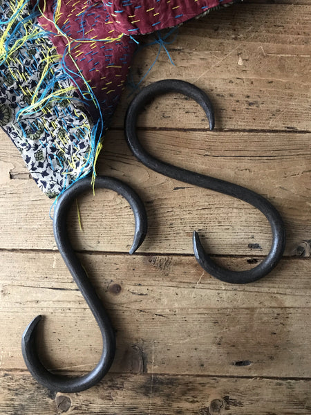 "Hand-Forged Iron ""S"" hooks"