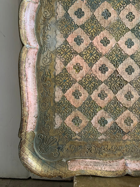 Large Pink Florentine Gilt Tray