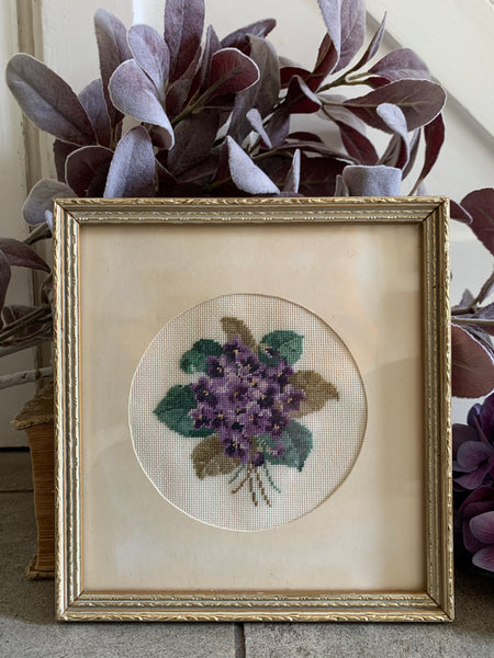 Small Gilt Framed Embroidered Floral