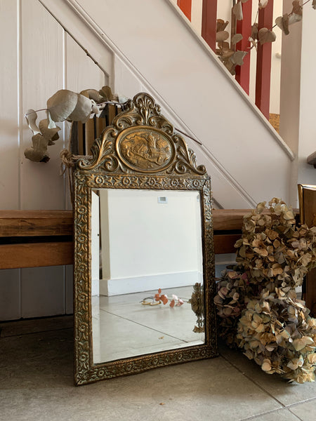 Small Ornate Decorative Brass Metal Mirror