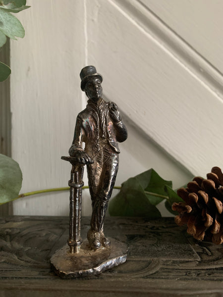 Little English Pewter Figurine -Man with Hat and Bag