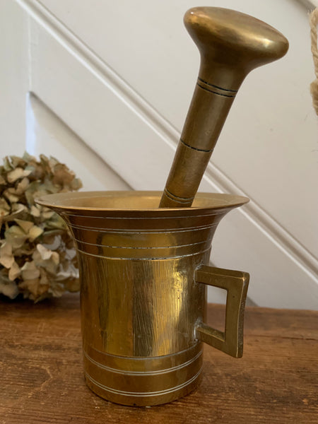 Large Antique Brass Pestle and Mortar 2