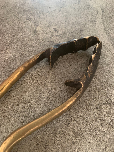 Victorian Brass Coal Tongs