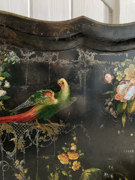 Oversized 19th Century Papier Mache Tray with Parrots & Mother of Pearl