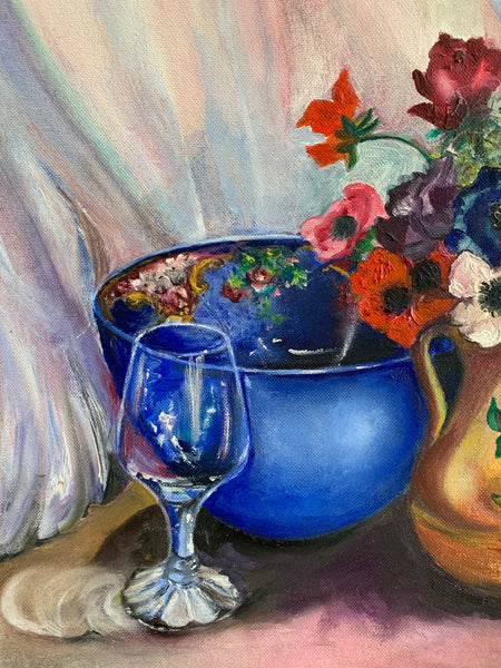 Still-Life Oil Painting on board, with flowers and blue bowl