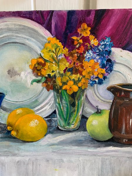 Still-Life Oil Painting on board, with lemons and flowers