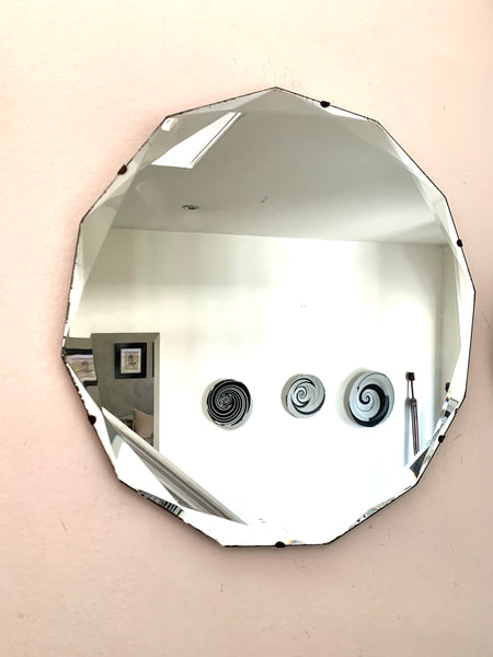 Round Art Deco Mirror with unusual bevelled glass