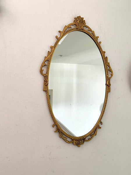 Ornate Metal Brass Mirror