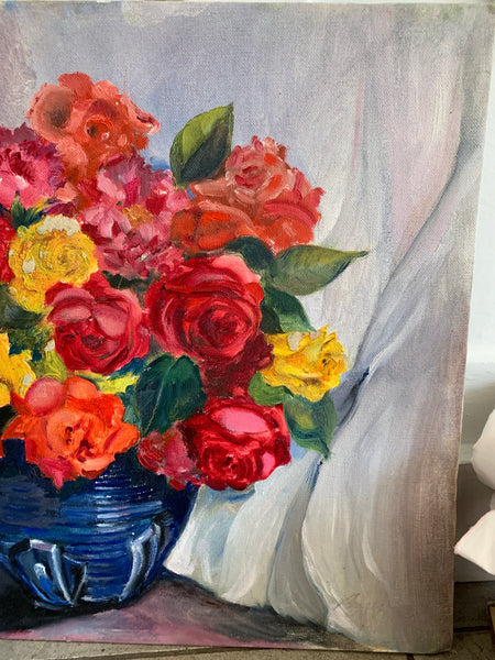 Still-Life Floral Oil Painting on board