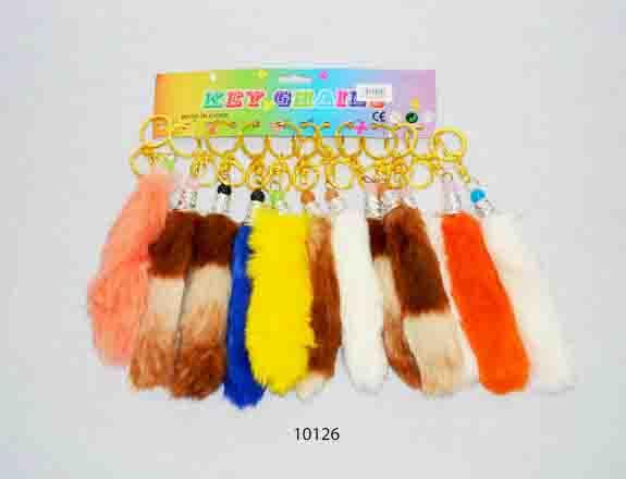 Assorted colour fur key rings: Random colours