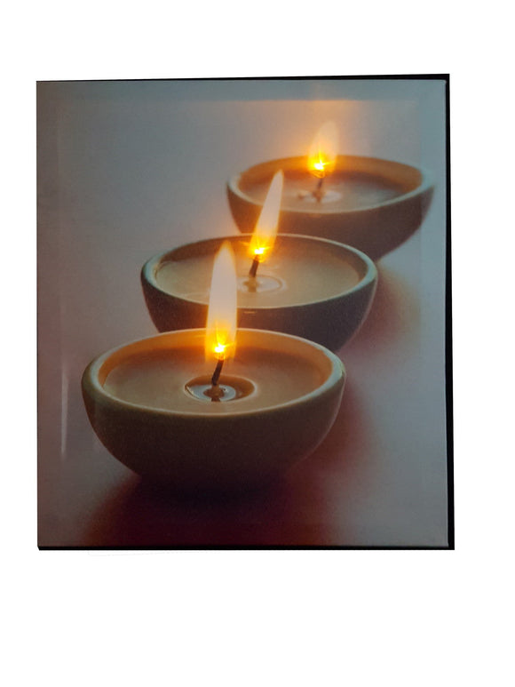 Light Up Painting With 3 Candles Design - 101A From The Gift Village South Africa