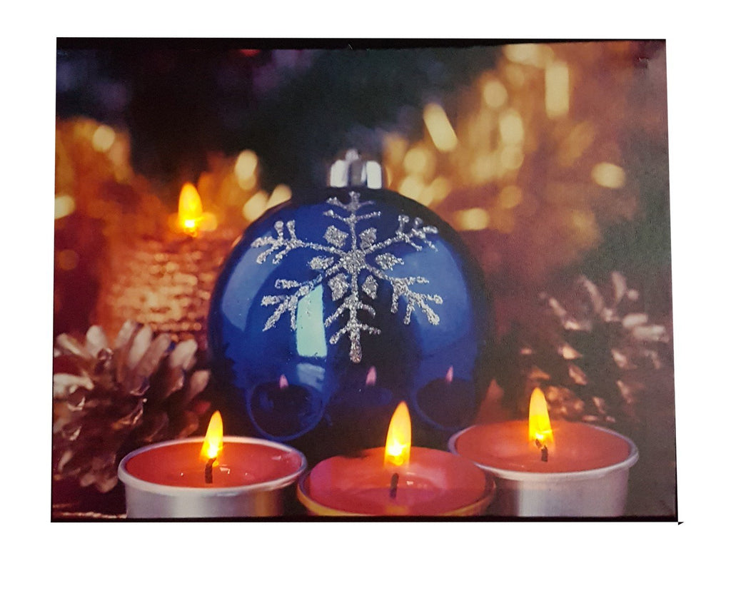 Light Up Painting With Chrismas Blue & Red Design - 101D From The Gift Village South Africa
