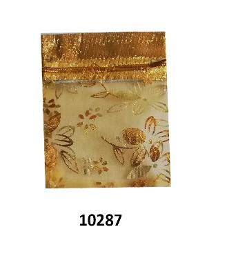 gold organza bag with gold flowers design 9cm (l) x 7cm (w) (20 pcs)