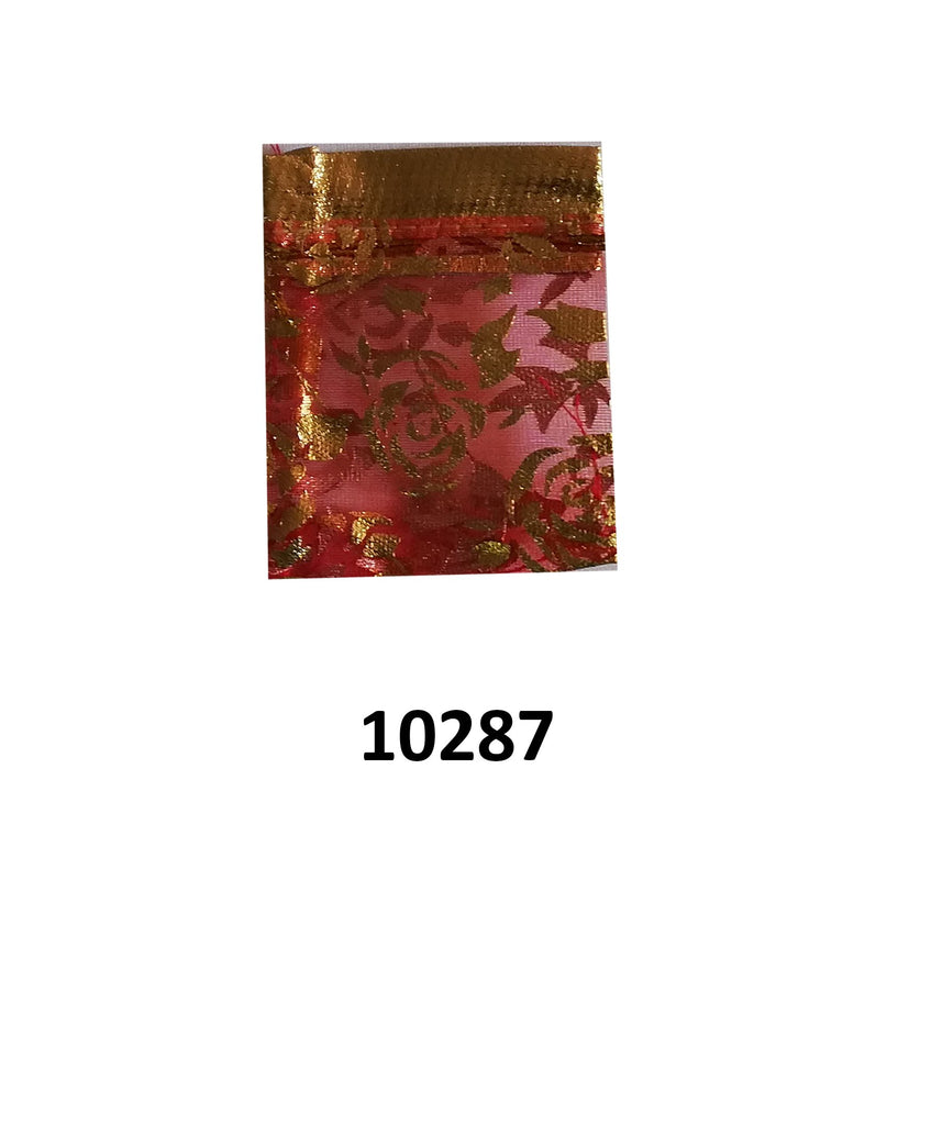 Red organza bag with gold flowers design 9cm (l) x 7cm (w) (20 pcs)