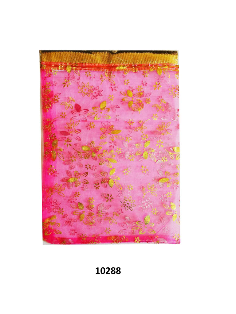 Dark pink organza bag with gold flowers design 11.5cm x 9cm (20 pcs)