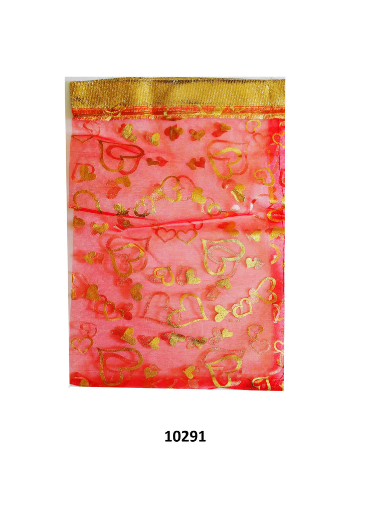 Red organza bag with gold flowers design 11.5cm x 9cm (20 pcs)