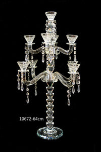 Candle Stand : Transparent Stand 9 Arms/Holders Height 64cm - 10672