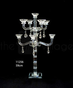Candle Stand : Transparent Stand 9 Arms/Holders Height 59cm - 11256
