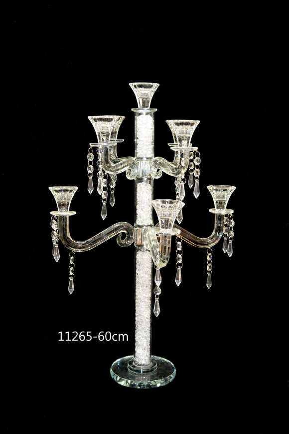 Candle Stand : Transparent Stand 9 Arms/Holders Height 60cm - 11265