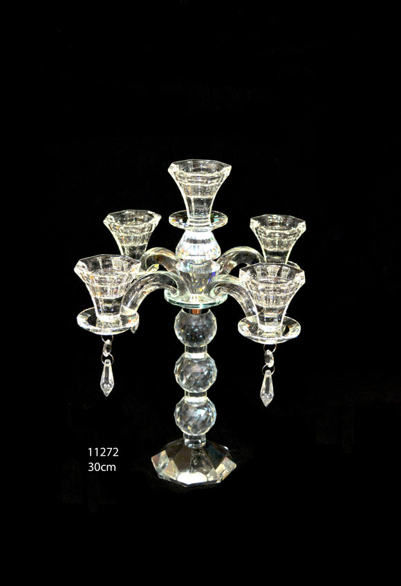 Candle Stand : Crystal Stand 5 Arms/Holders Height 30cm - 11272