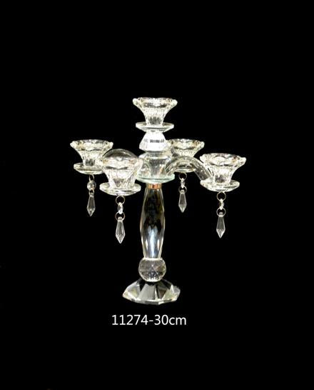 Candle Stand : Crystal Stand 5 Arms/Holders Height 30cm - 11274