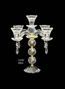 Candle Stand : Transparent Stand 5 Arms/Holders Height 29cm - 11276