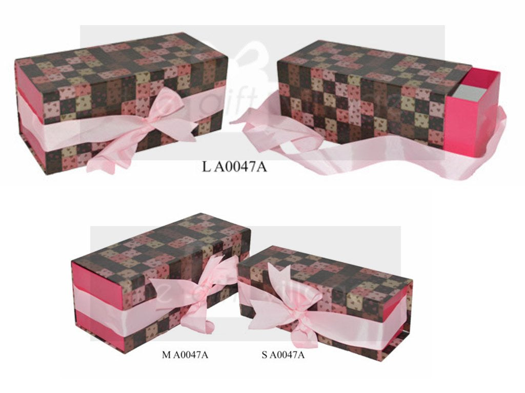 Gift Box: Brown & Pink Three-piece sets  Rectangle shape- A0047A