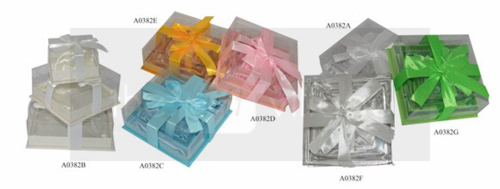 Gift Box: White Three-piece sets PVC with lid - A0382A