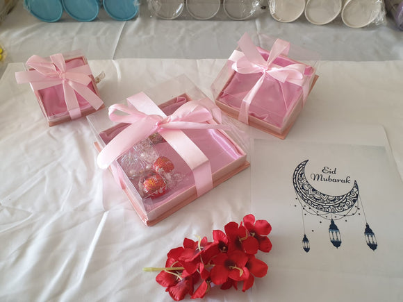 Gift Box : Pink Three Piece Sets PVC with lid - A0382D