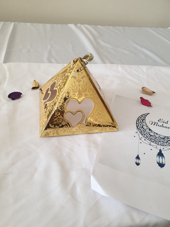 Pyramid Heart Style Box: Gold (20pc/pack) - 10782G