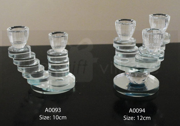 Candle Stand : Transparent Stand 2 Arms/Holders Height 10cm - A0093
