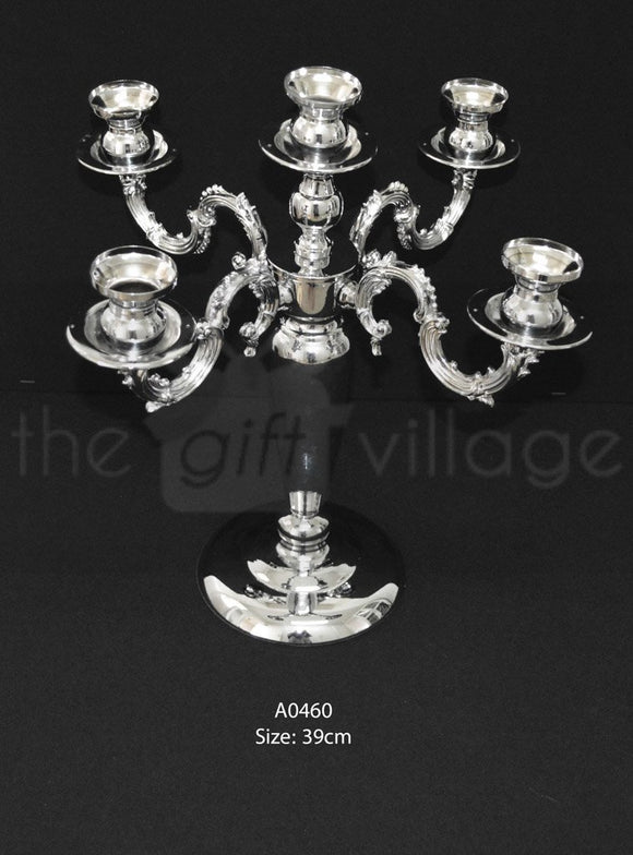 Silver 5 Candle Holder For Decoration 39cm - A0460