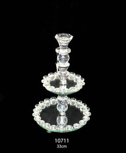 2 Tier Crystal Trays & Single Candle Stand Height 33cm - 10711