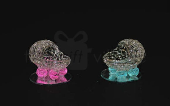 Crystal Baby Shower : Baby Carriage 4cm in Pink & Blue - 11212