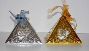 Pyramid Heart Style Box: Silver (20pc/pack) - 10782S
