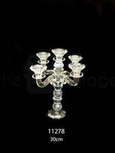 Candle Stand : Transparent Stand 5 Arms/Holders Height 30cm - 11278