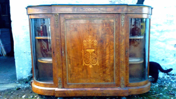 Victorian burr walnut credenza - Country Homes Antiques