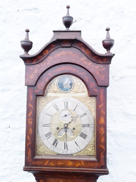 18th century Marquetry Grandfather clock. - Country Homes Antiques