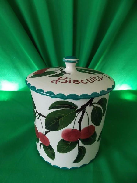 Wemyss buscuit barrel (Cherries). COUNTRY HOMES ANTIQUES UK