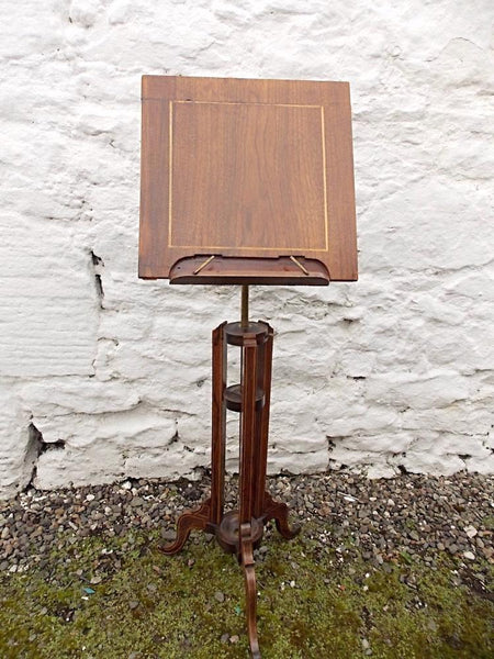 Victorian rosewood and mahogany adjustable music stand